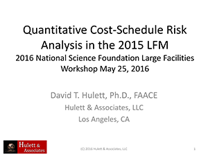 Quantitative Cost-Schedule Risk Analysis | 2016